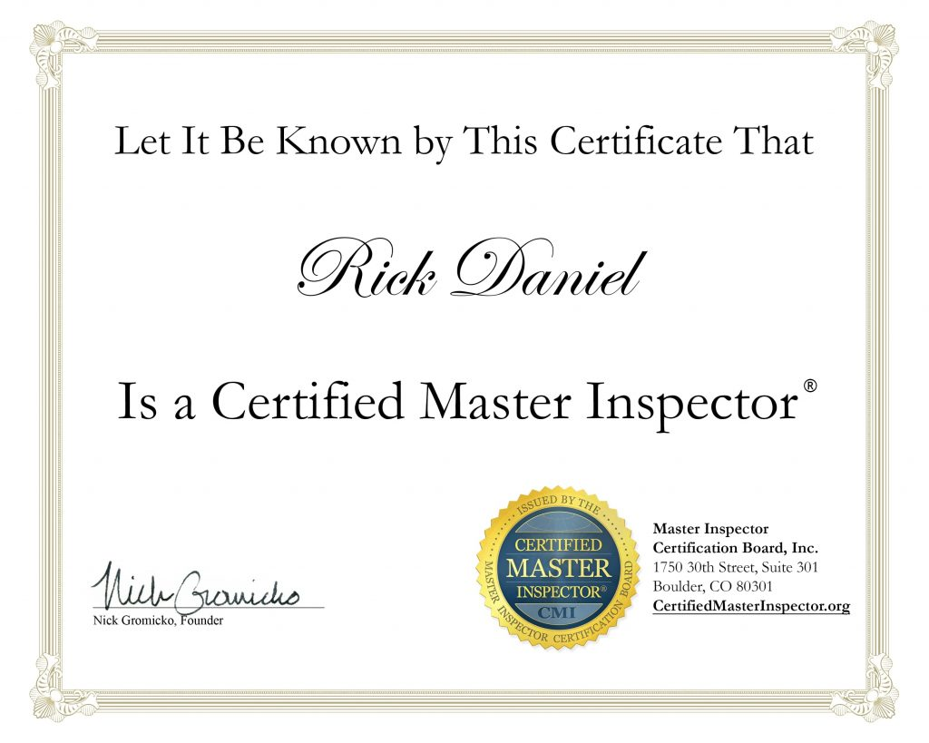 Certified Master Inspector Certification